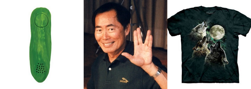 George Takei with pickle and shirt