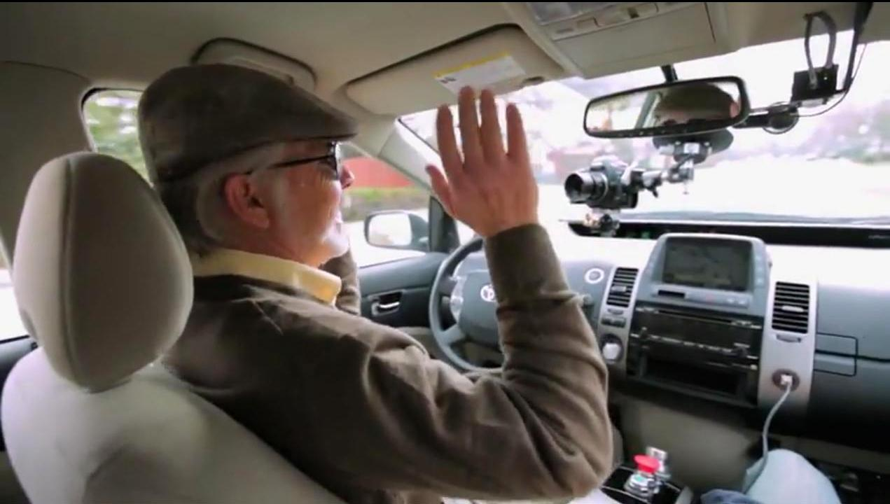 A legally blind driver gets a turn behind the wheel of Google's autonomous vehicle.