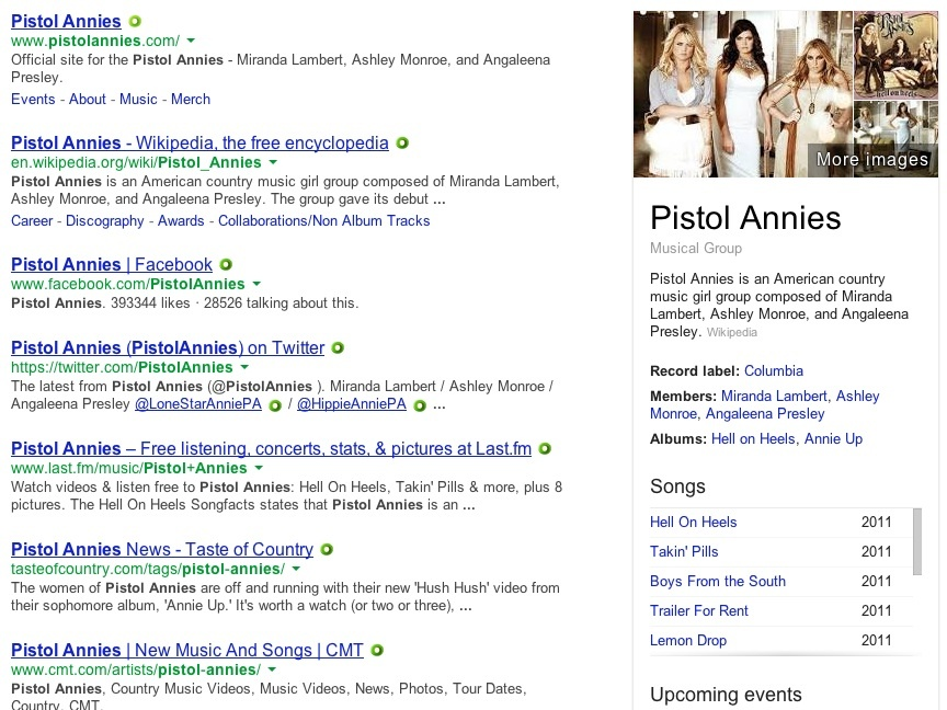 """Google search results for """"Pistol Annies"""""""
