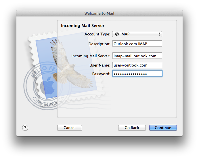 Apple Mail incoming mail server settings