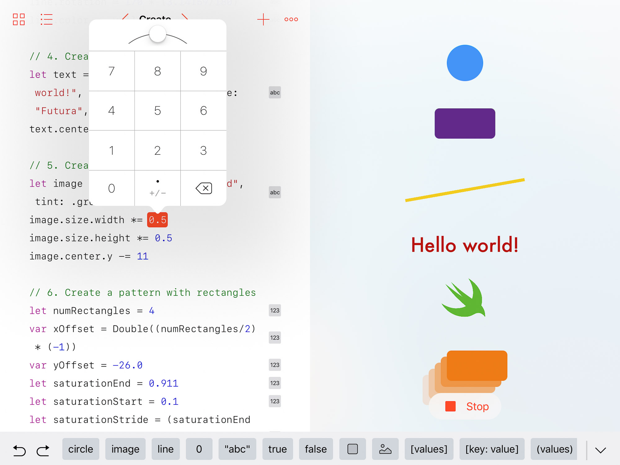 Apple's Swift Playgrounds app offers a shapes section that lets you fiddle with a variety of Swift commands on the left side of the screen and see what happens on the right.