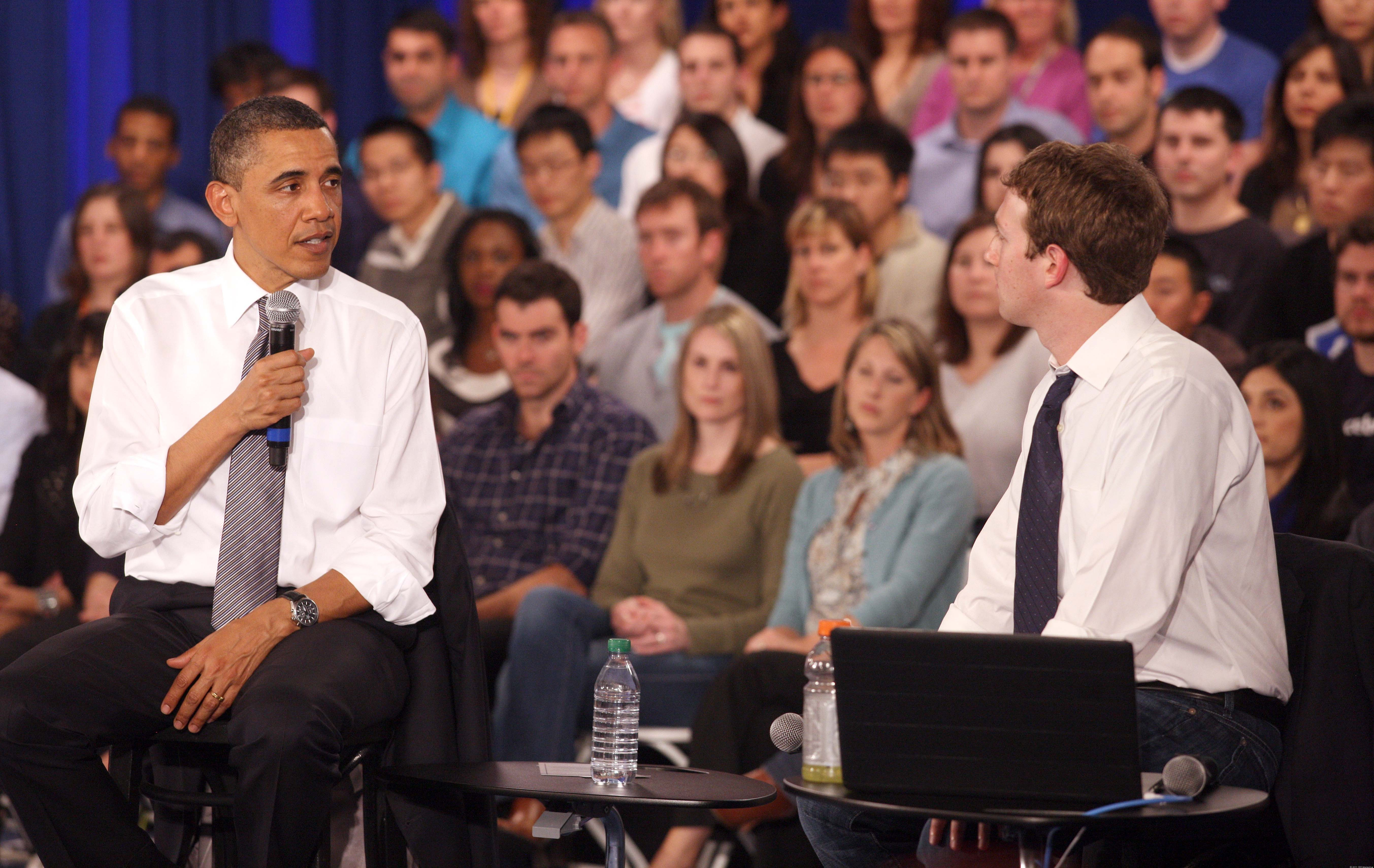 """President Obama and Facebook Chief Executive Officer Mark Zuckerberg at a previous """"town hall"""" meeting in April"""