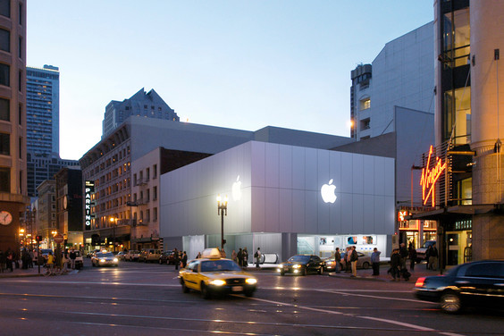 Apple's flagship retail store in San Francisco, one of more than 400 stores in the world.