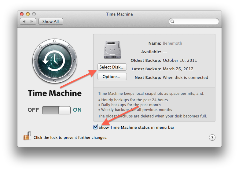 Time Machine system preferences