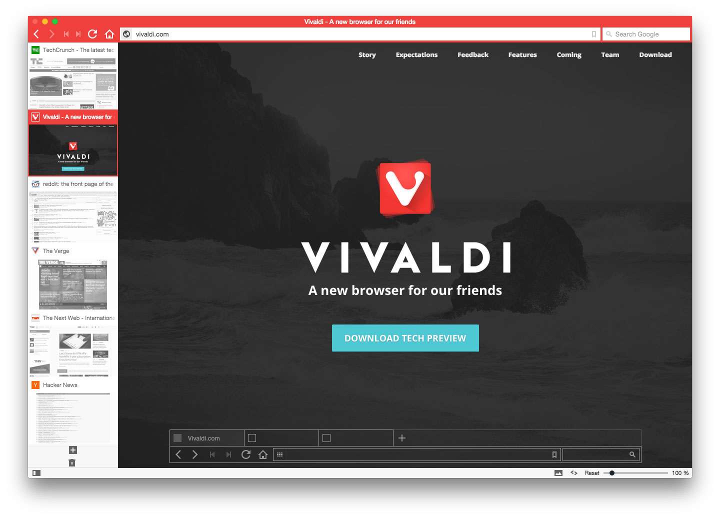 Vivaldi lets people organize browser tabs visually down the left edge of the screen.