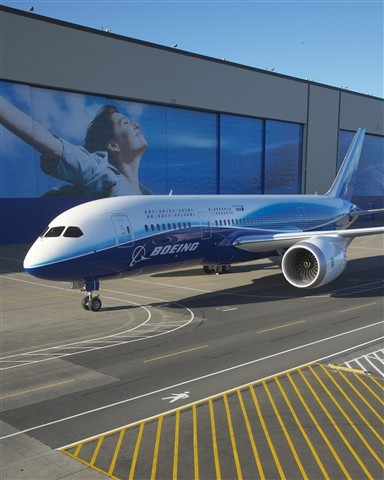 Boeing rolls out the 787 Dreamliner.