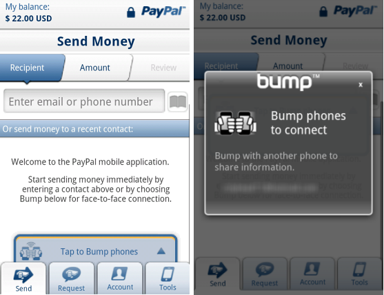 PayPal for Android 2.0, with Bump