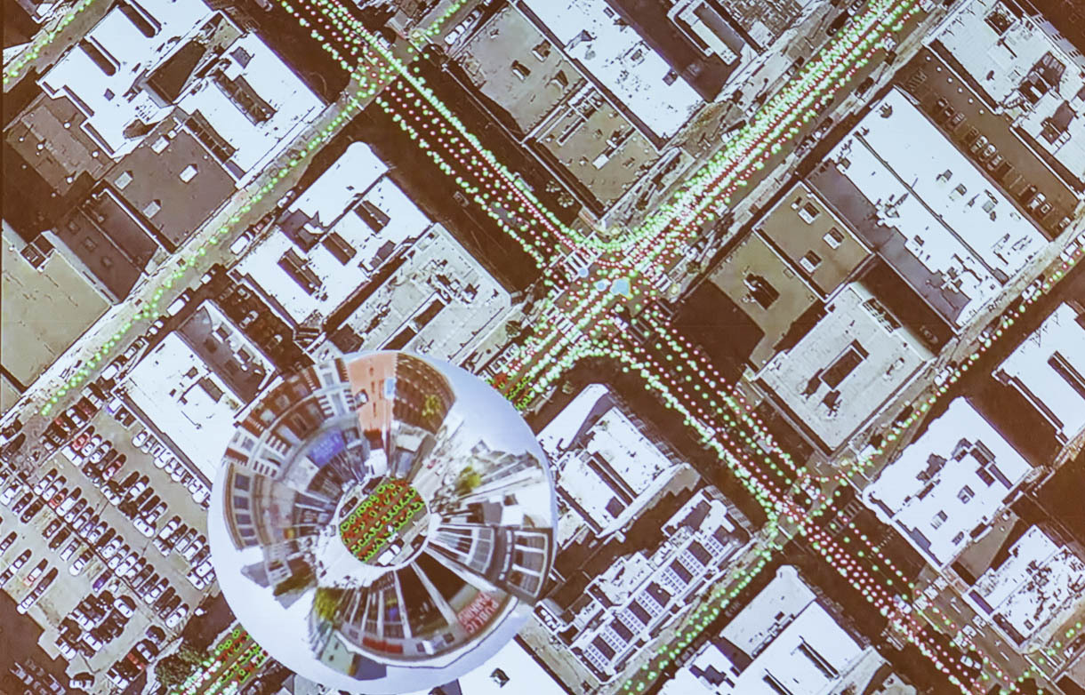 The Atlas tool lets Google Maps staffers hover over the map and see a fisheye-lens view of a particular point on a road. The bubble shows images taken with Street View.