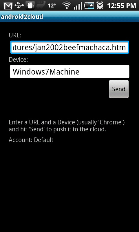 Android2Cloud's send screen