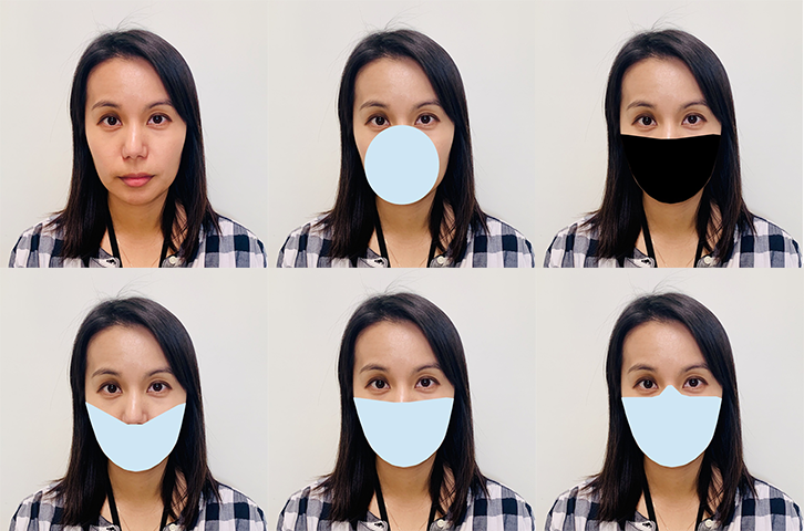 Photo series showing various simulated face masks on a face.
