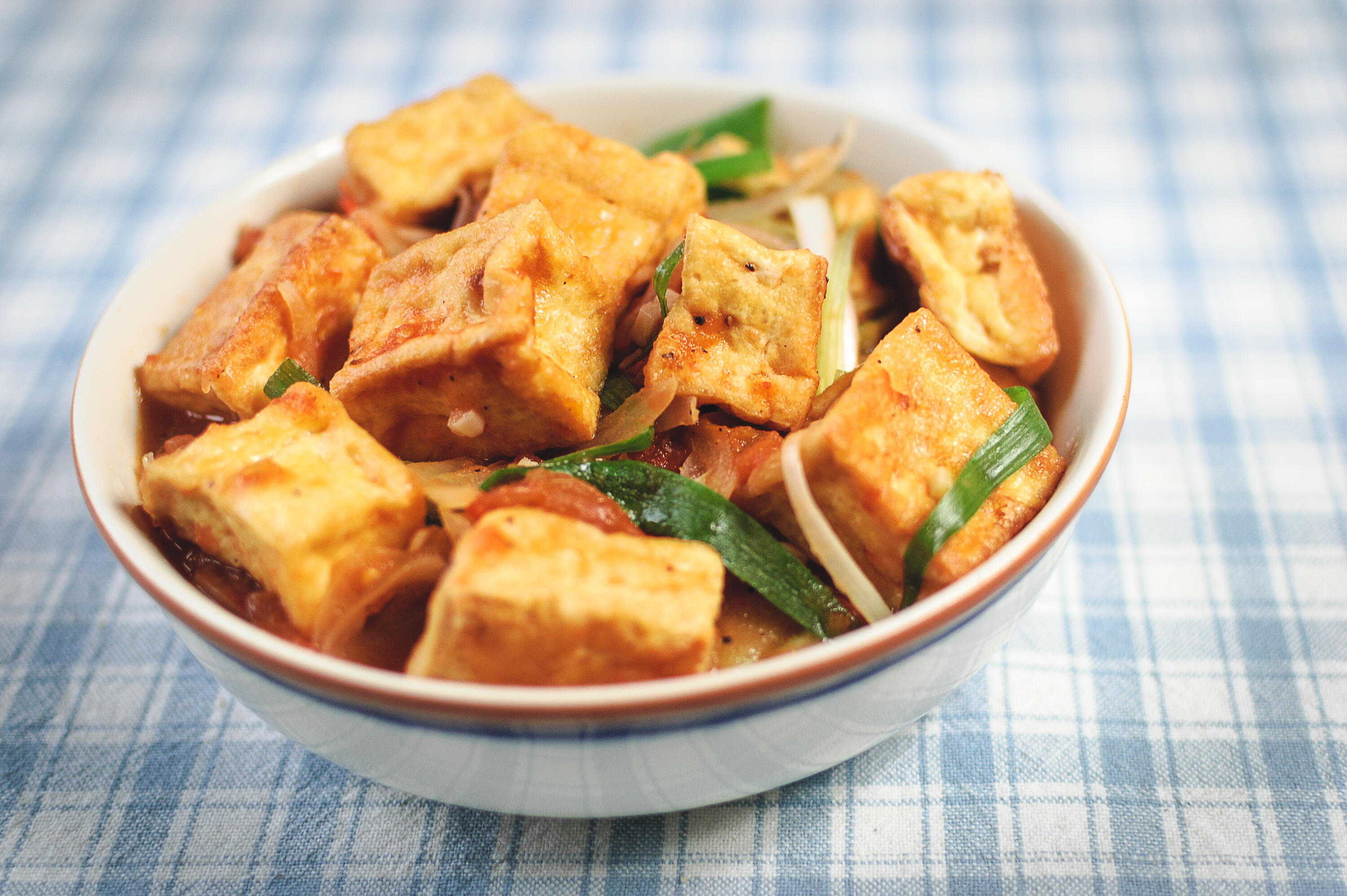 seared tofu in a bowl
