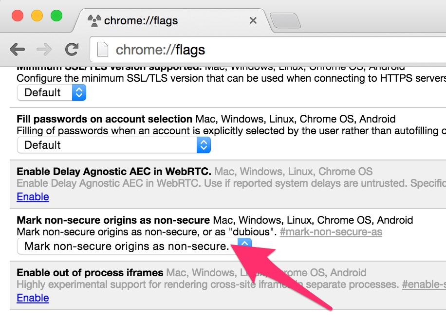 Google's Chrome Canary, an early test version of the browser, can be configured to show the warning about unencrypted HTTP connections.