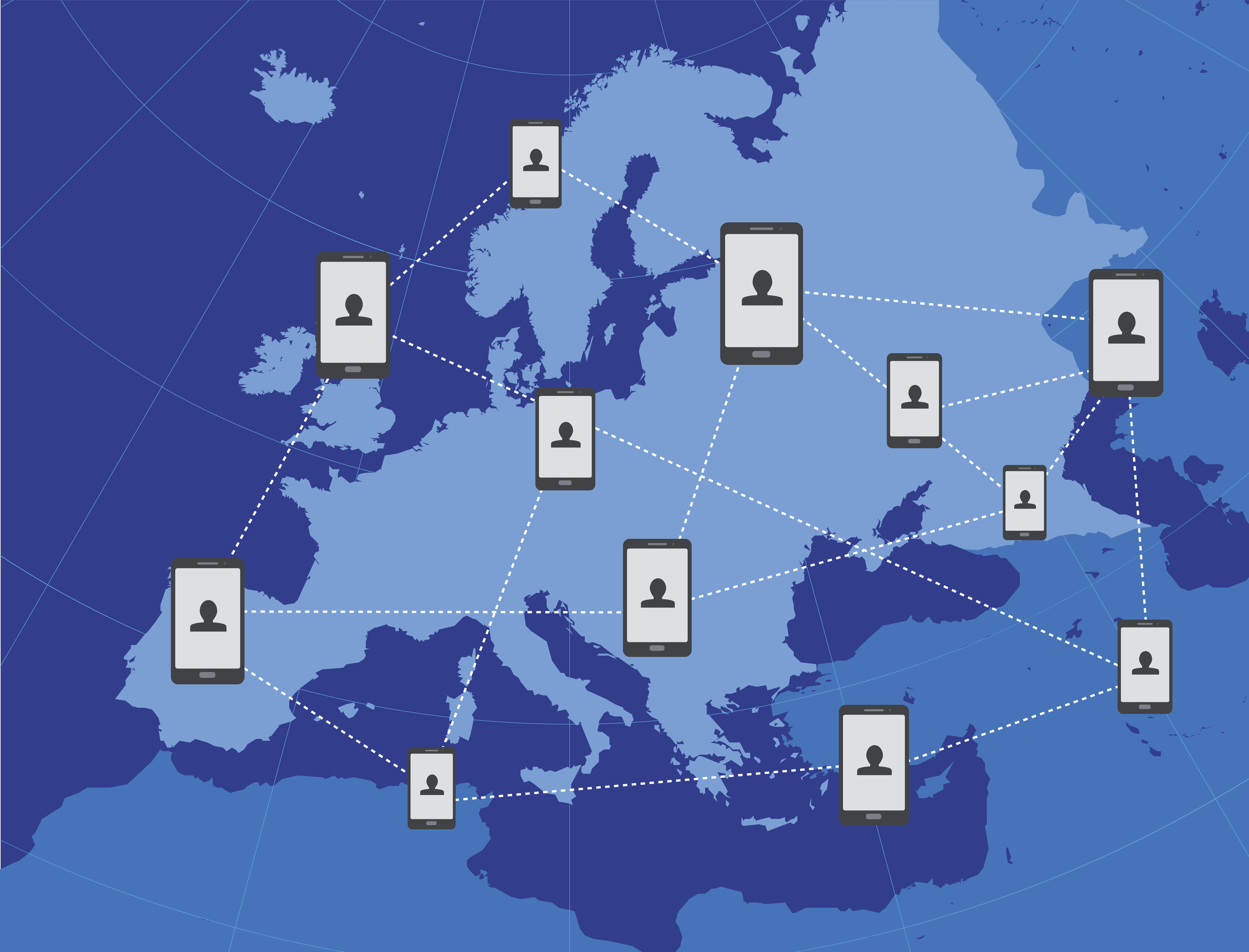 Cloud and smartphones over map of Europe