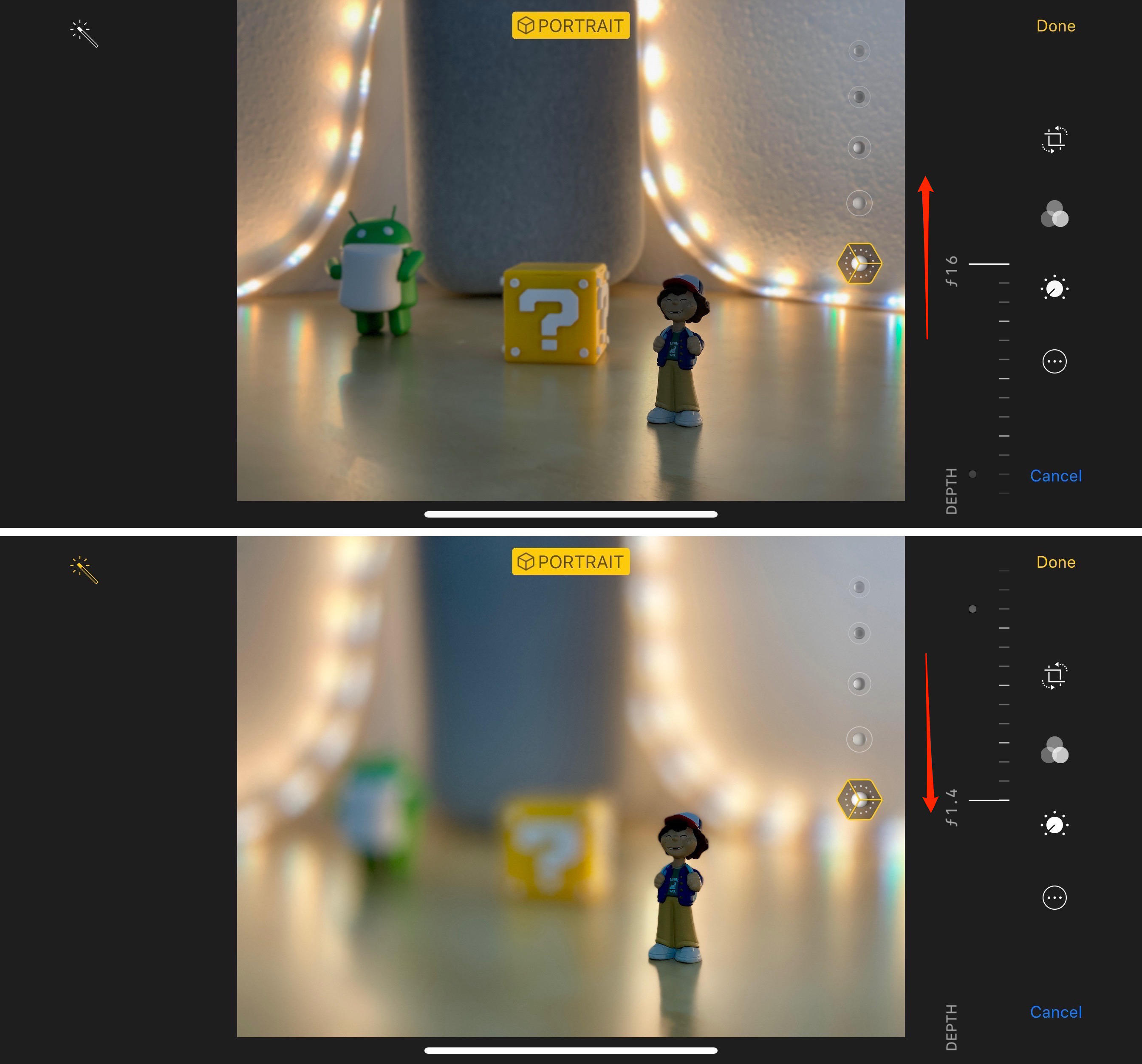 Adjust portrait mode blur