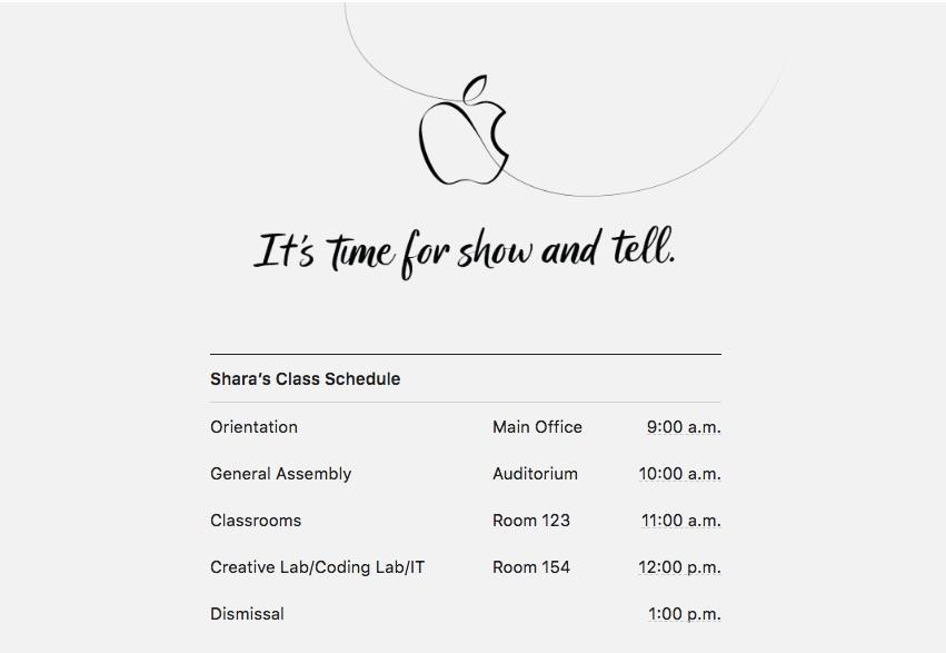 Reporters attending Apple's event in Chicago received class schedules.