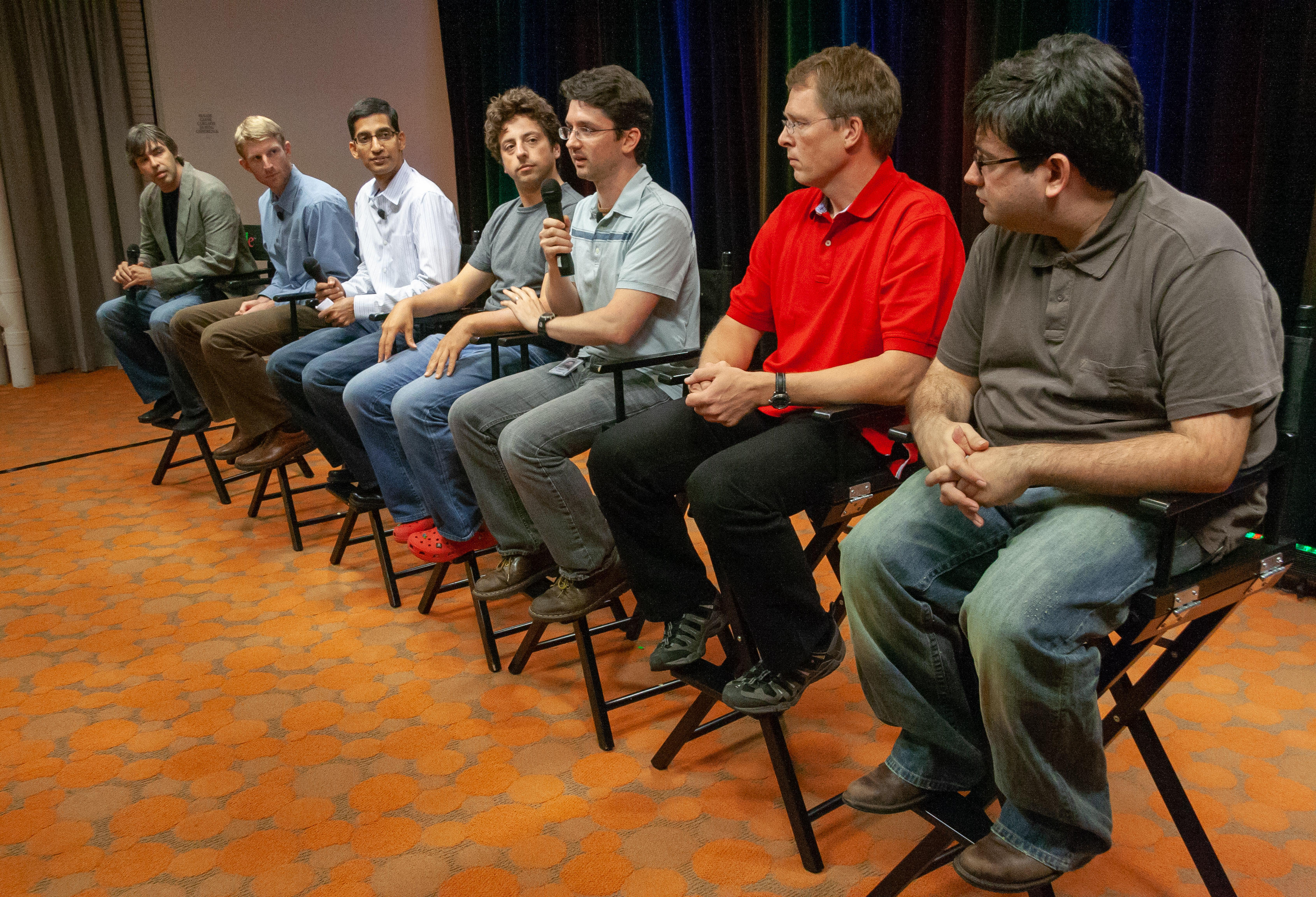From left to right are Larry Page, Brian Rakowski, Sundar Pichai, Sergey Brin, Darin Fisher, Lars Bak and Ben Goodger. Page and Brin are Google's co-founders.