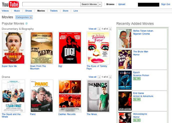 YouTube's movie rental page.