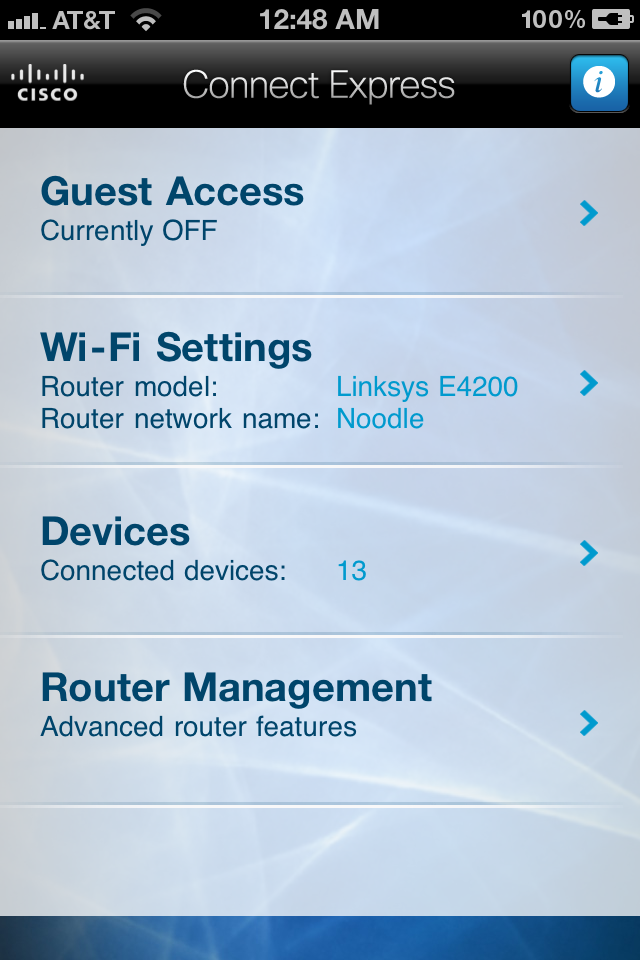 More routers and networking devices will come with mobile apps for users to manage them on the go. Here's a screenshot of such an app from Cisco for its E-series routers.