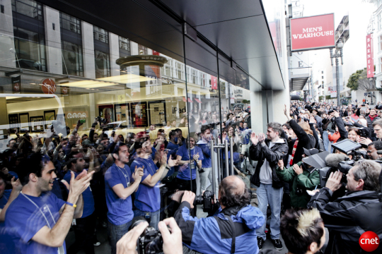 The scene just before sales for the first iPad kicked off last April at Apple's flagship store in San Francisco.