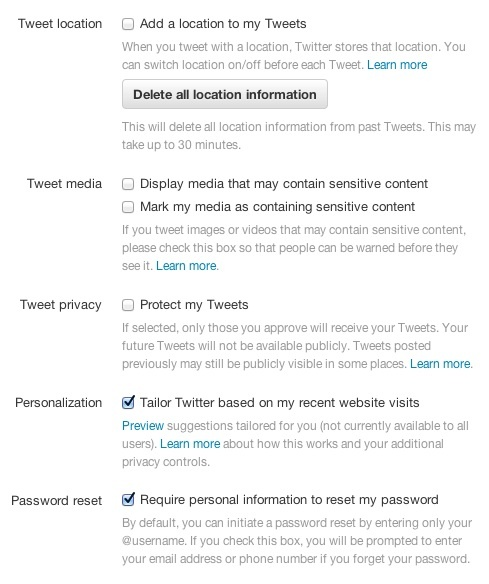 Twitter account setting for password resets