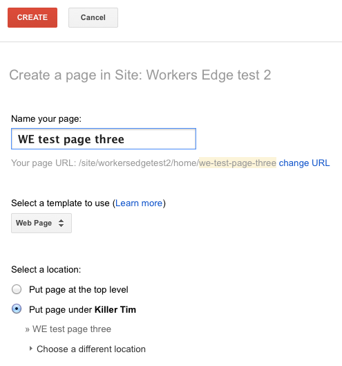 Google Sites page-creation options
