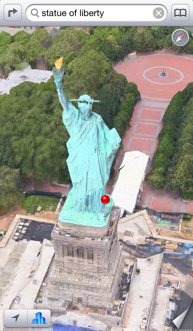 New York's Statue of Liberty, a 3D landmark that was added to maps after iOS 6 was released.