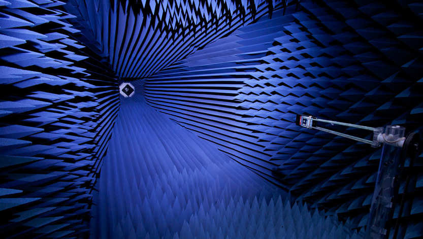 An iPhone 4 being tested inside one of Apple's anechoic chambers, a photo released during Apple's antenna press conference in 2010.