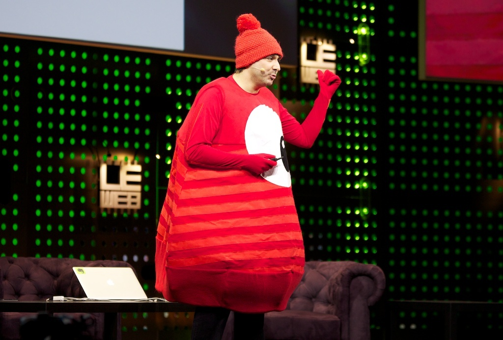 Zeptolab CEO Misha Lyalin, dressed as a pudding for the upcoming Pudding Monsters game, speaking at LeWeb 2012.