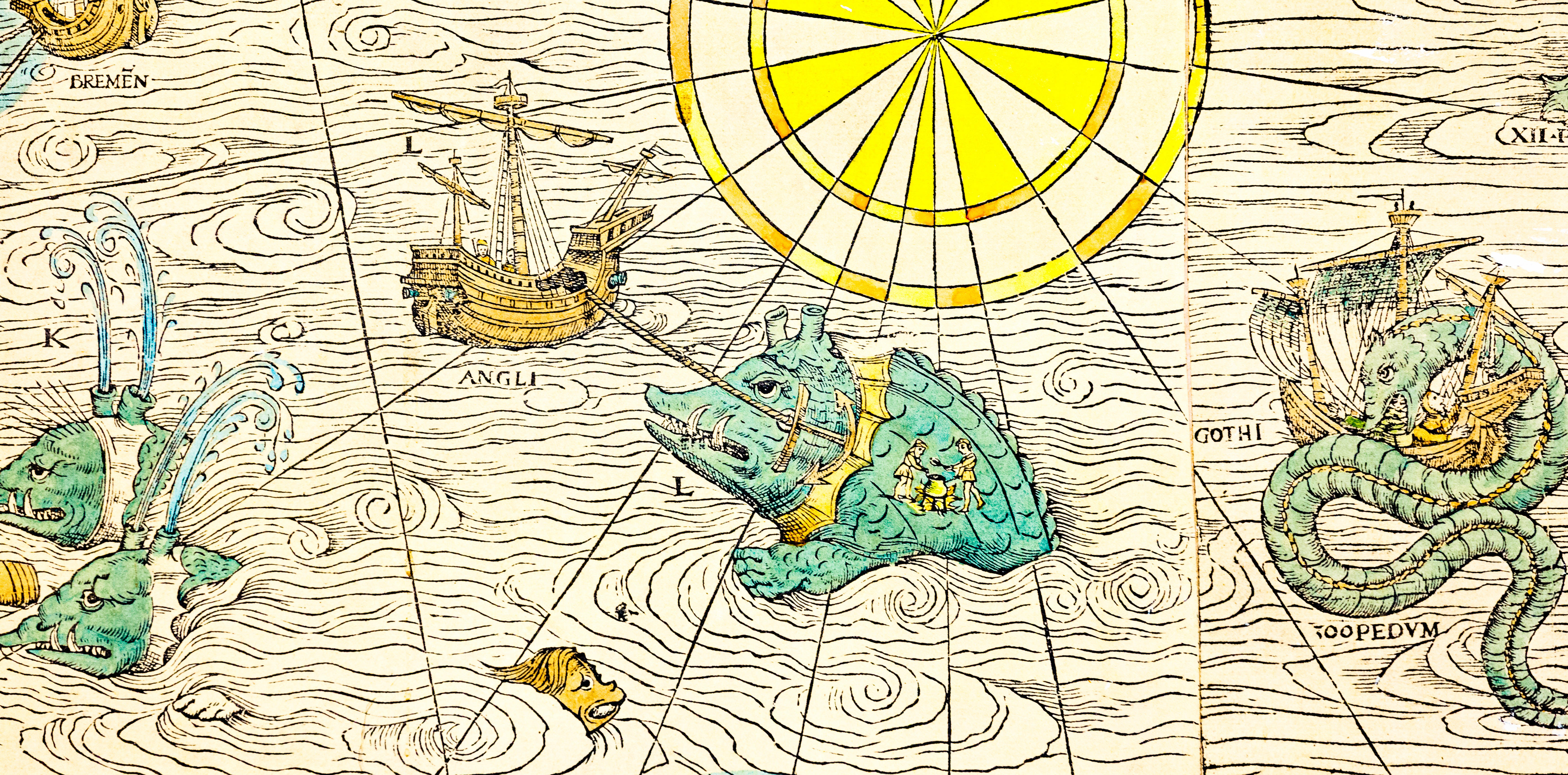 old navigation map with sea monsters
