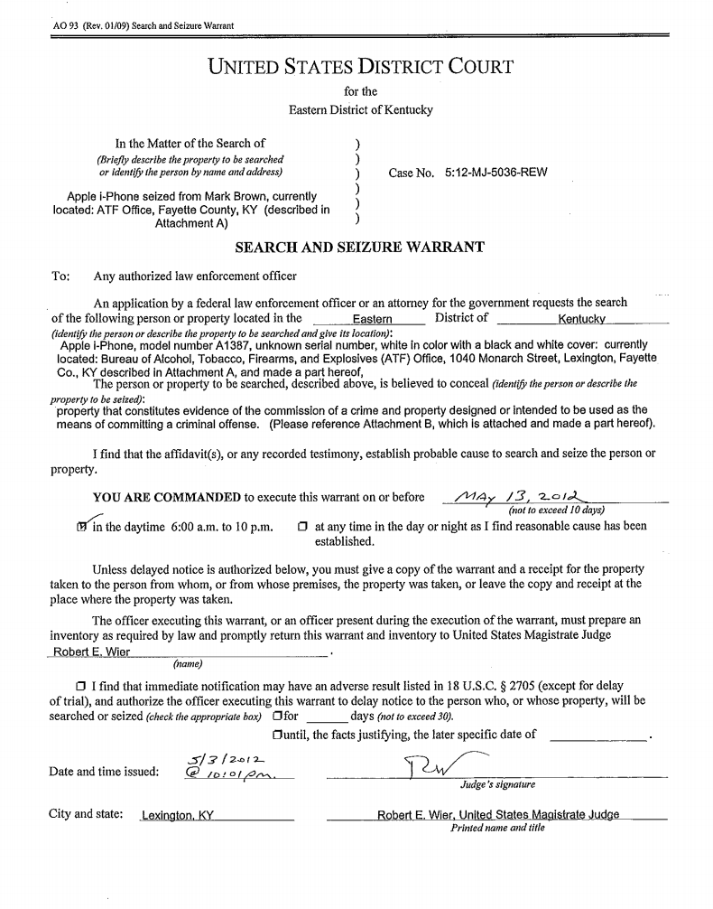 ATF search warrant for the seized iPhone 4S, signed by a magistrate judge last year. Click for larger image.
