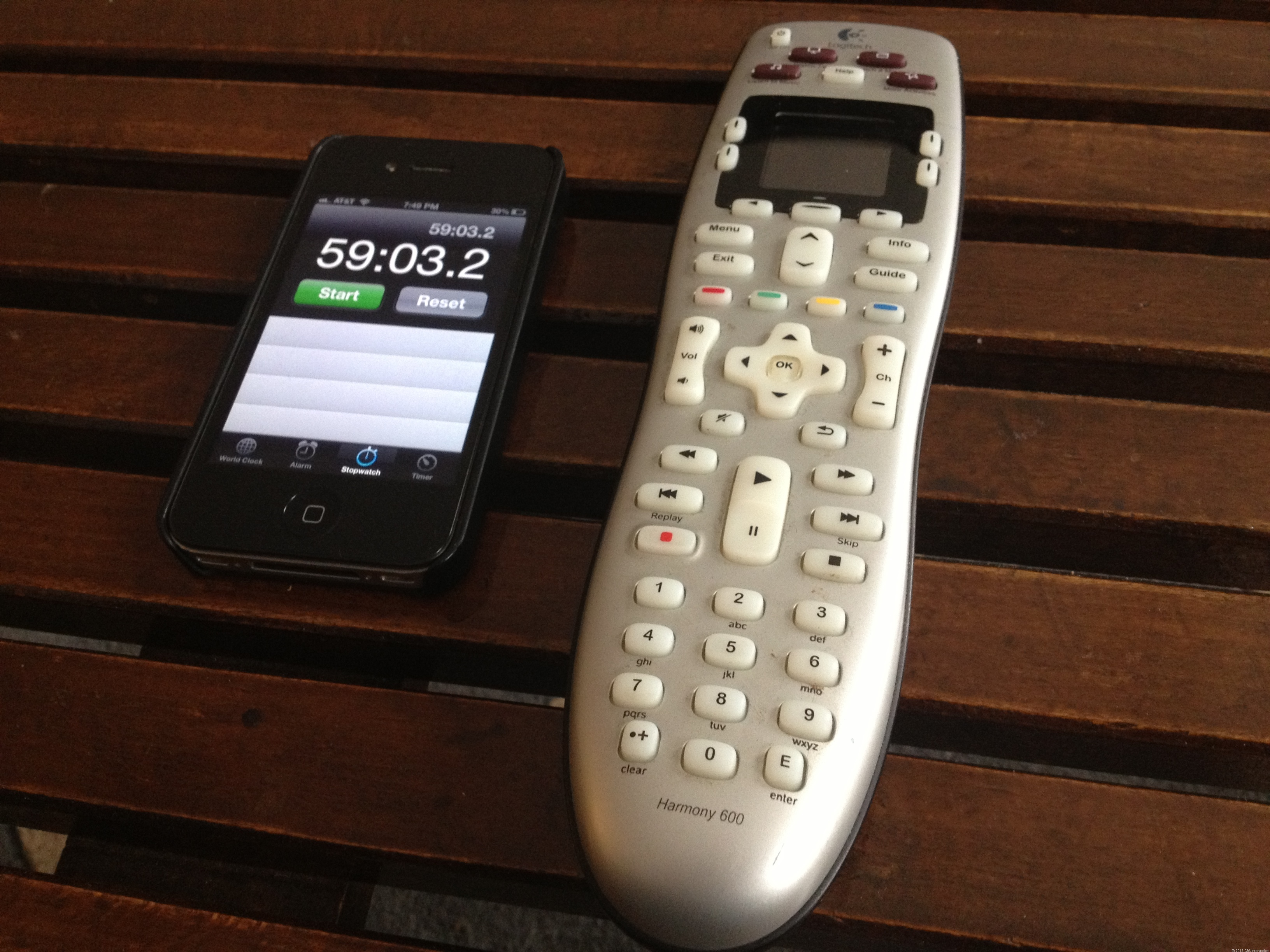 Universal remote and stopwatch