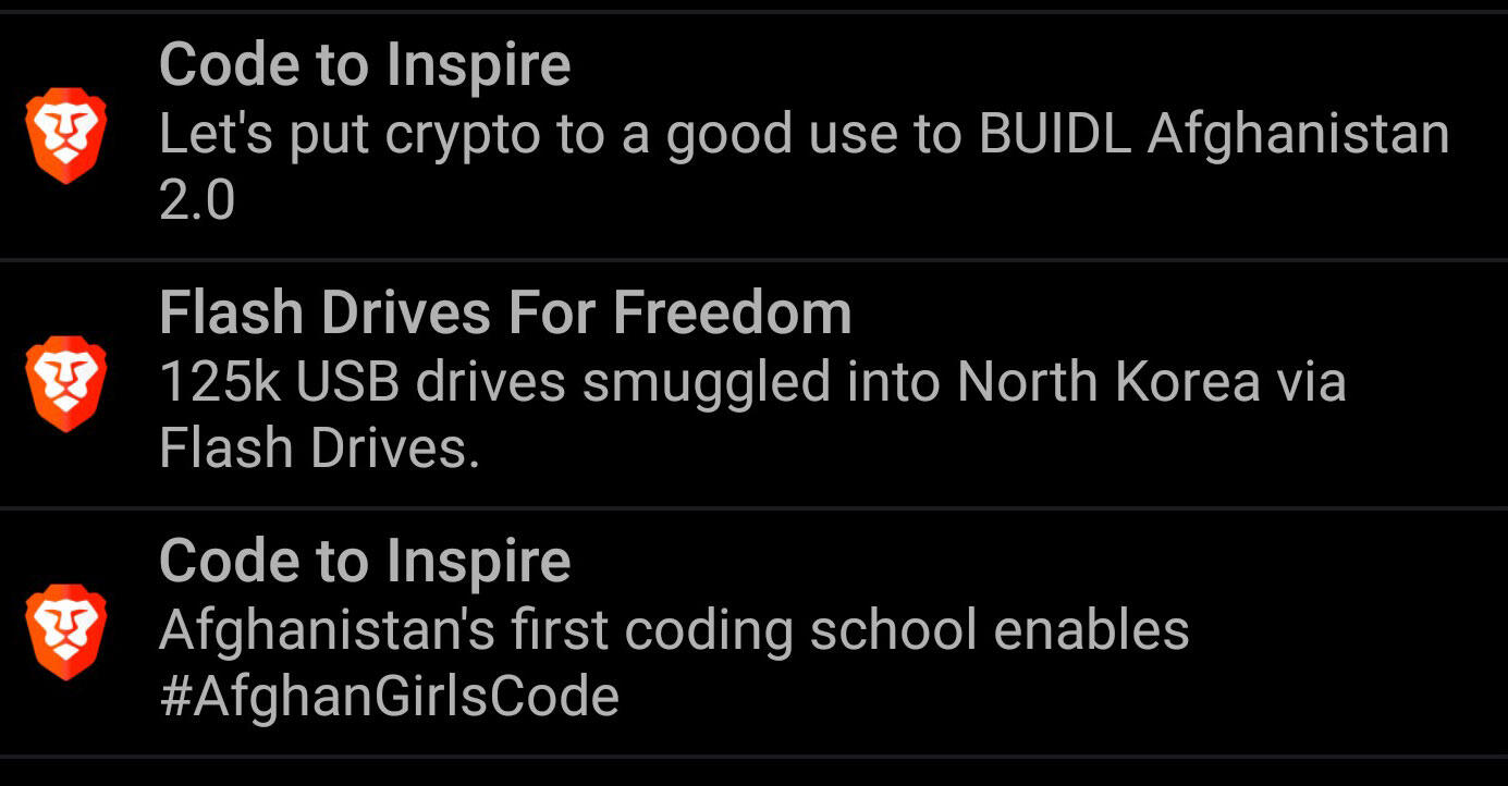 Brave ads show as operating system notifications. These are on an Android phone.