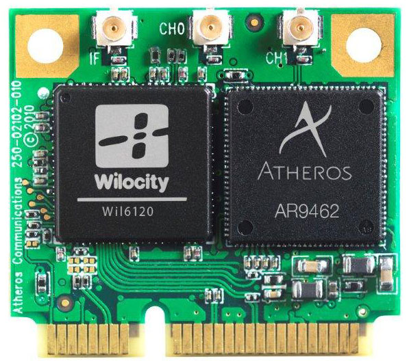Wilocity's chip for 802.11ad wireless communications at 60GHz is paired with a Qualcomm Atheros chip for more conventional 802.11n networking.