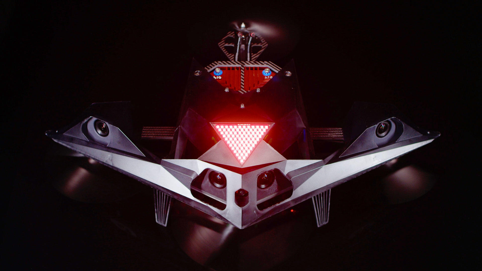 This front view of the Drone Racing League's RacerAI drone shows the four cameras -- two stereo pairs -- that programmers will use to get a 3D view of what's in front of the racing drone.