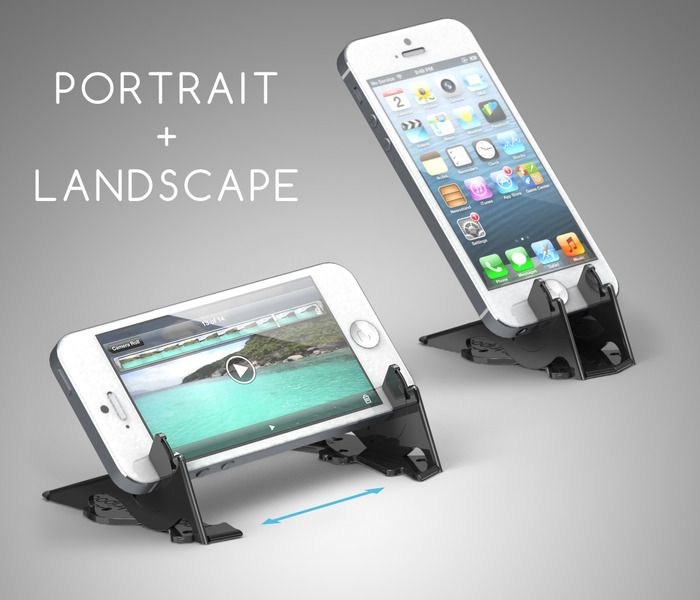 The Pocket Tripod can hold your iPhone vertically or horizontally.