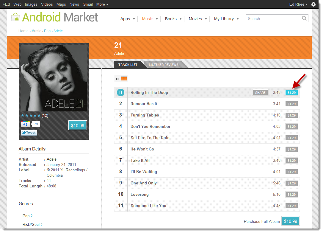Buy music from Android Market