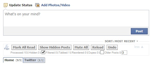 Social Fixer tabs and stats for Facebook profiles and news feeds