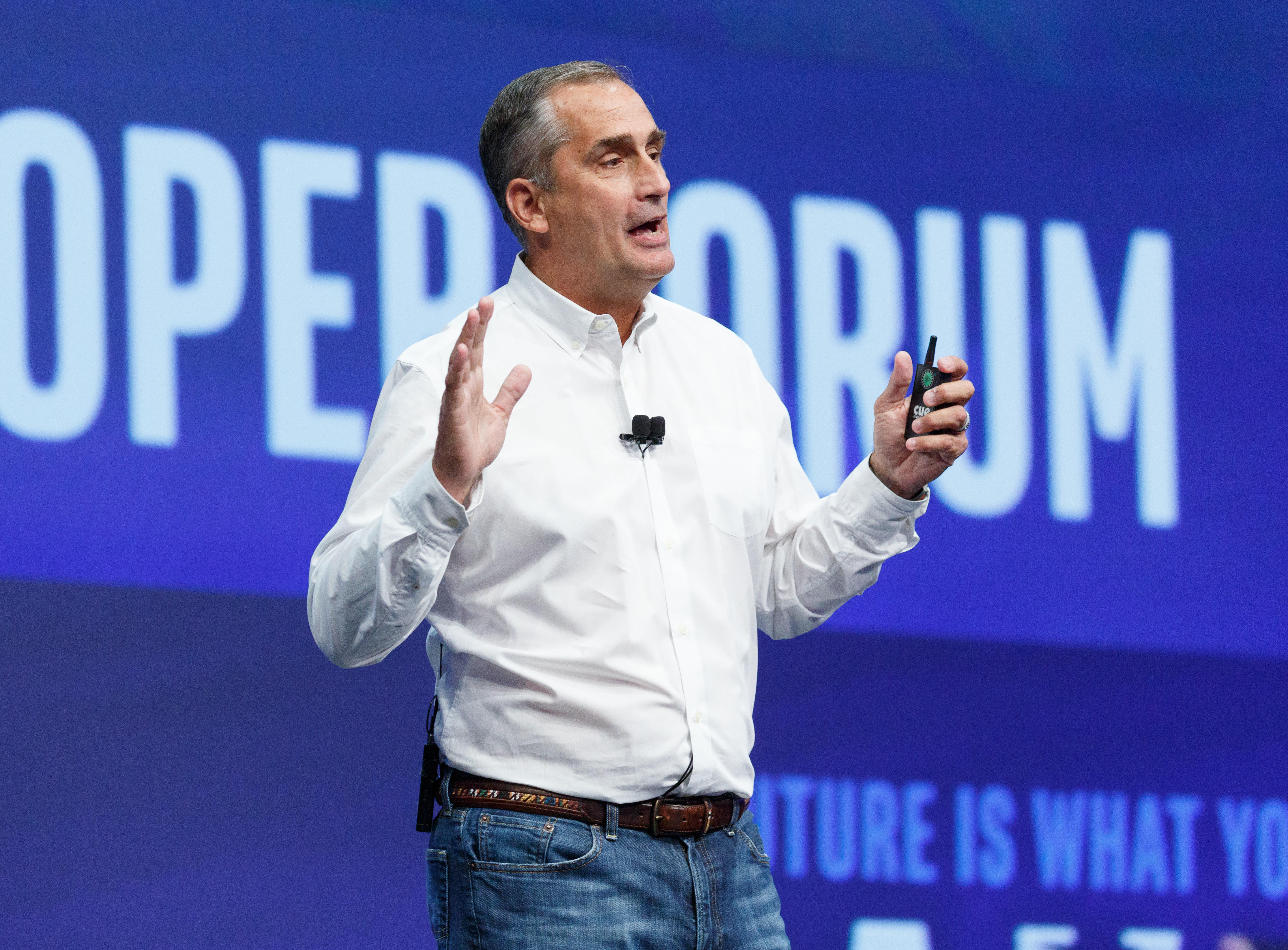 Intel CEO Brian Krzanich on stage at the IDF developer conference in 2016. The company said Tuesday that fixes for the Spectre and Meltdown vulnerabilities were causing slowdowns of 6 percent or less.
