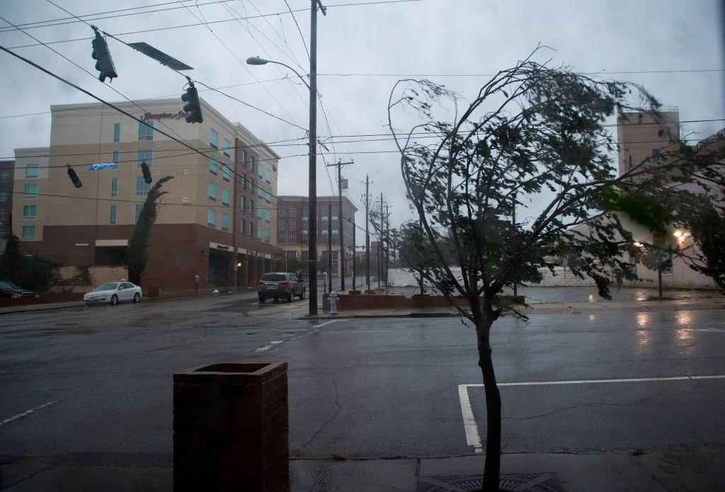 <p>A tree bends from the heavy rain and wind caused by Hurricane Florence in Wilmington, North Carolina on Friday.</p>