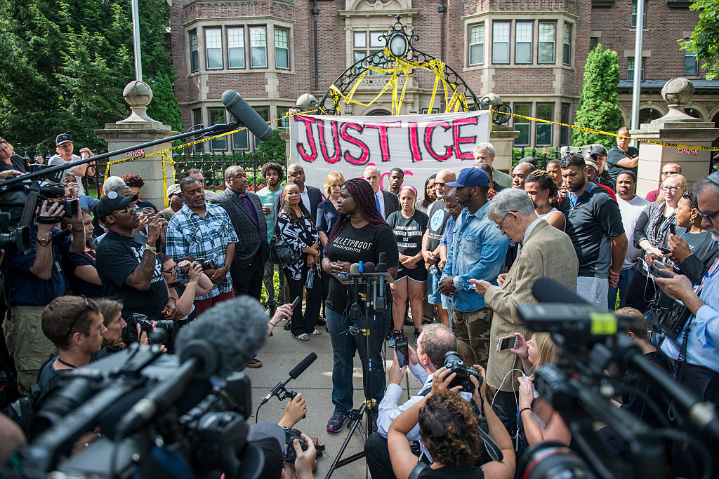 Protesters outside the governor's mansion in St. Paul, Minnesota, following the shooting death of Philando Castile.