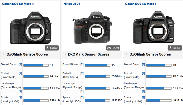 Overall, the Canon EOS 5D Mark III edges out its predecessor, but the Nikon D800 remains the unquestioned king of the hill when it comes to performance shooting raw images.