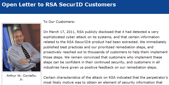 RSA open letter re SecurID tokens