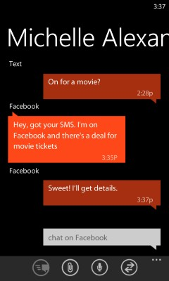 Integrated messaging in Windows Phone 7