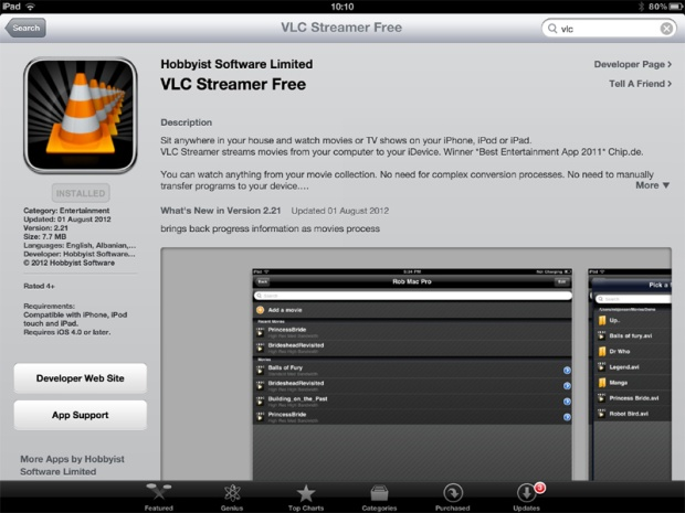 How to stream video to an iPad or iPhone using VLC Streamer: 1