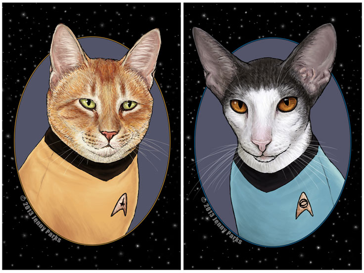 """Captain Kirk and Spock look ready to explore planets full of catnip thanks to Jenny Parks' cat """"Star Trek"""" portraits."""