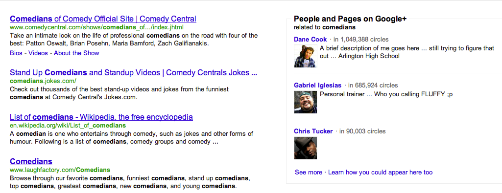 """These are the top results for """"comedians"""" on Google with the new social search enabled."""