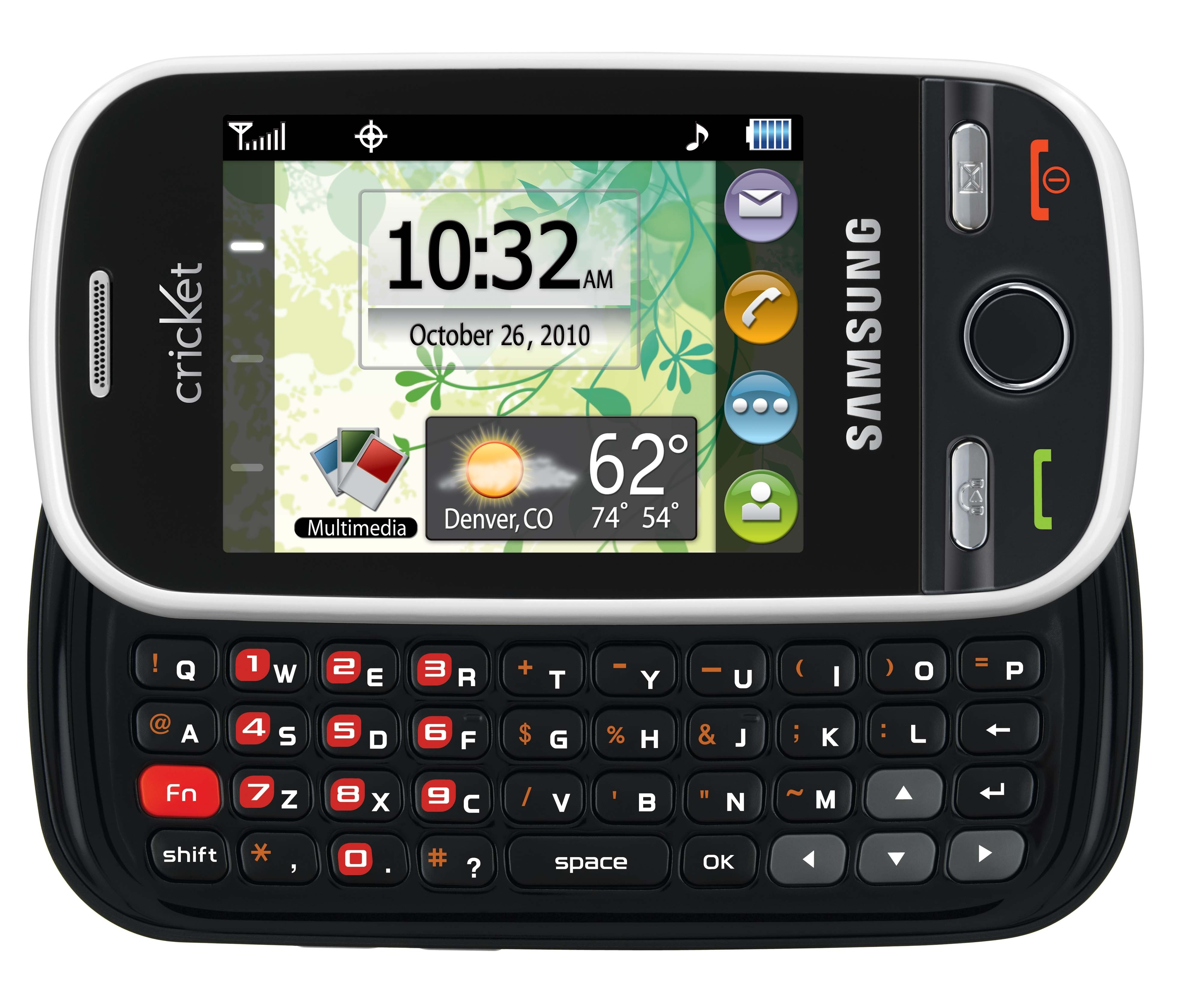 Cricket's Samsung Messager Touch has a full keyboard.
