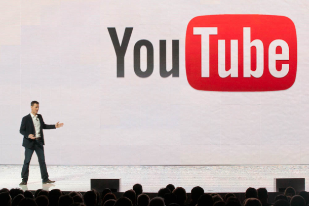 YouTube's Robert Kyncl giving a keynote address at the 2012 Consumer Electronics Show.