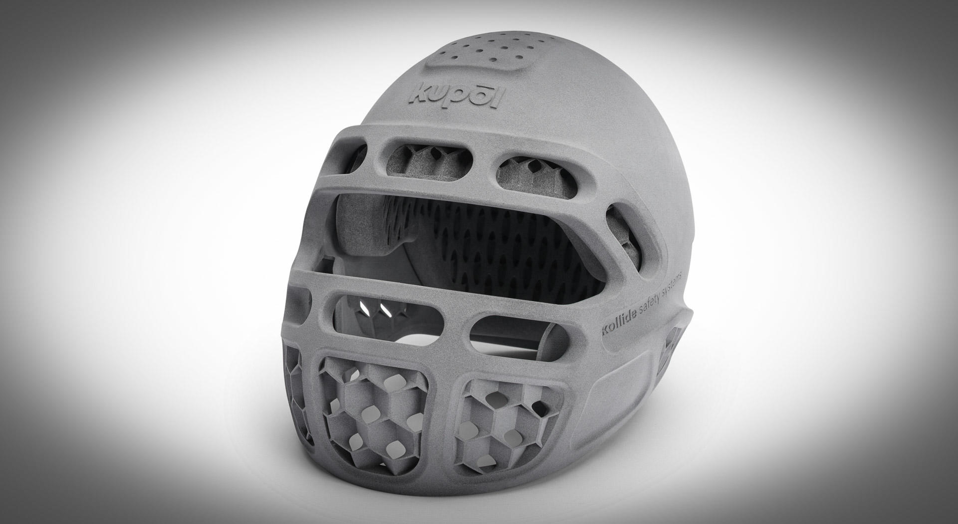 This Kupol 3D-printed helmet uses an interior protective layer made of absorbent thermoplastic polyurethane (TPU) that can be made with HP's Jet Fusion 5200 printer.