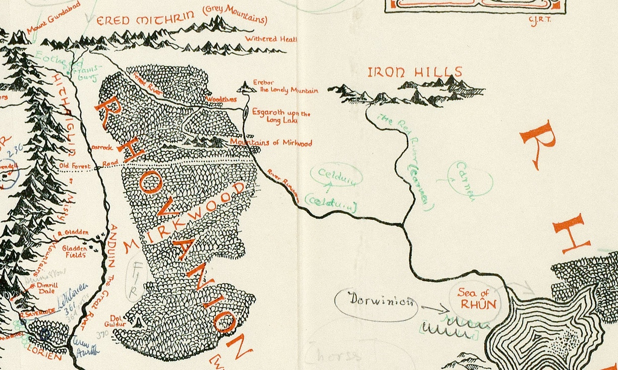 Middle-earth map close-up